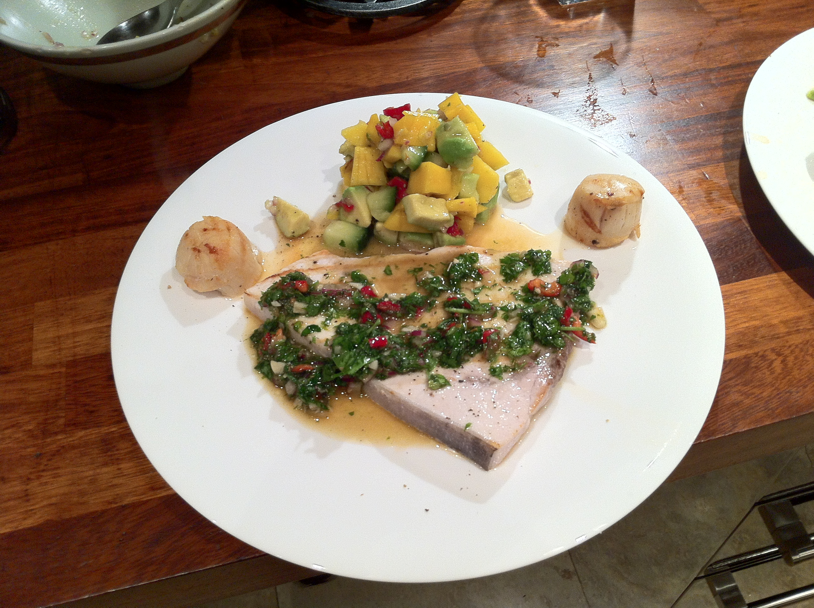 Swordfish with Chimichurri and mango salsa.