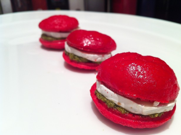 Goats Cheese and Pesto Macarons|Fine Dining at Home
