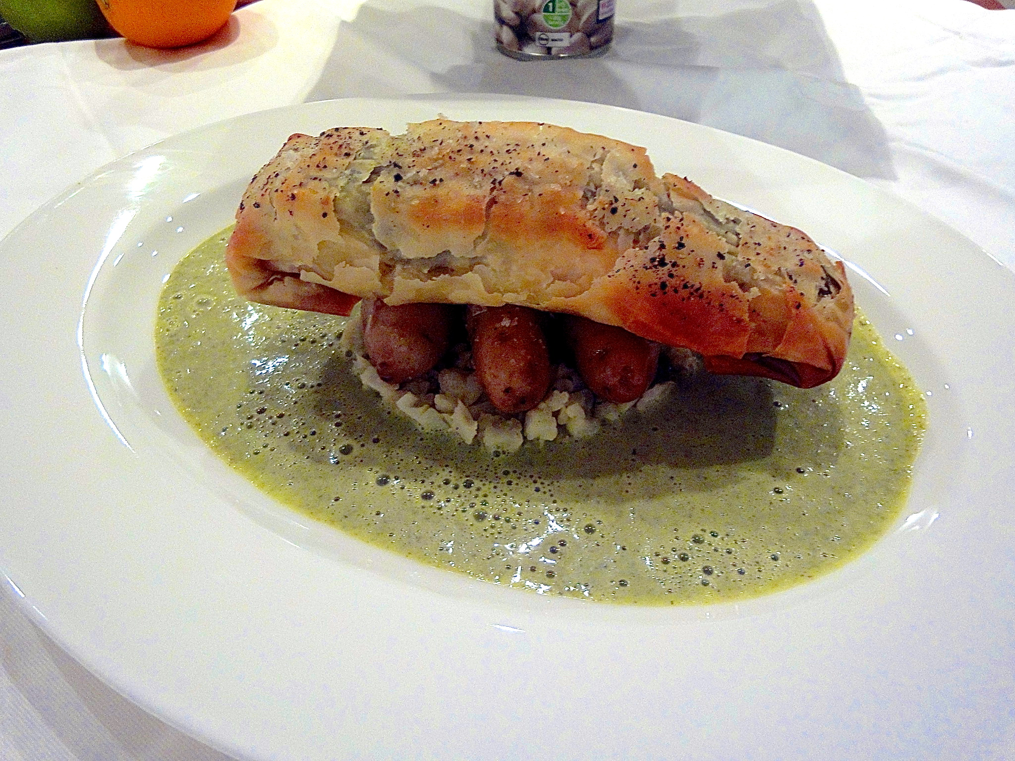 Salmon Wrapped in Filo, Watercress Sauce and Cauliflower Couscous