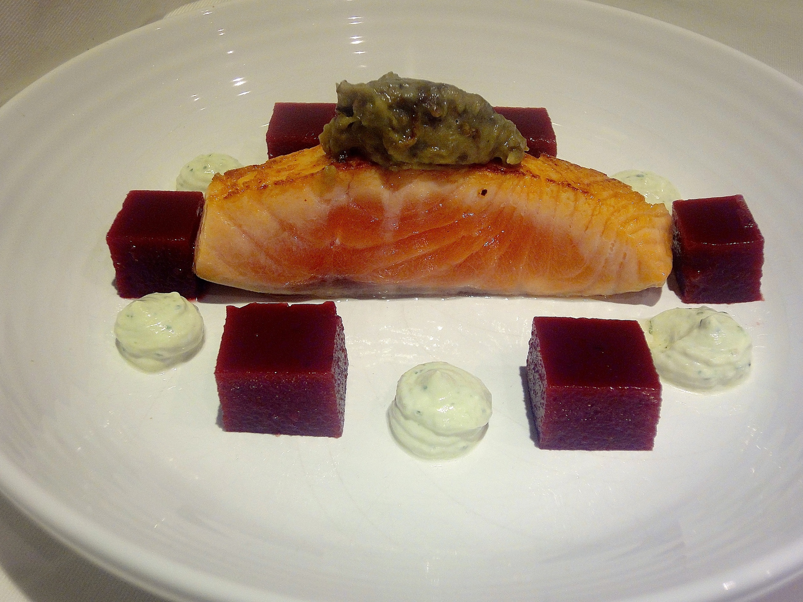 Fennel Cured Salmon with Beetroot Jelly and Pesto Goats Cheese.