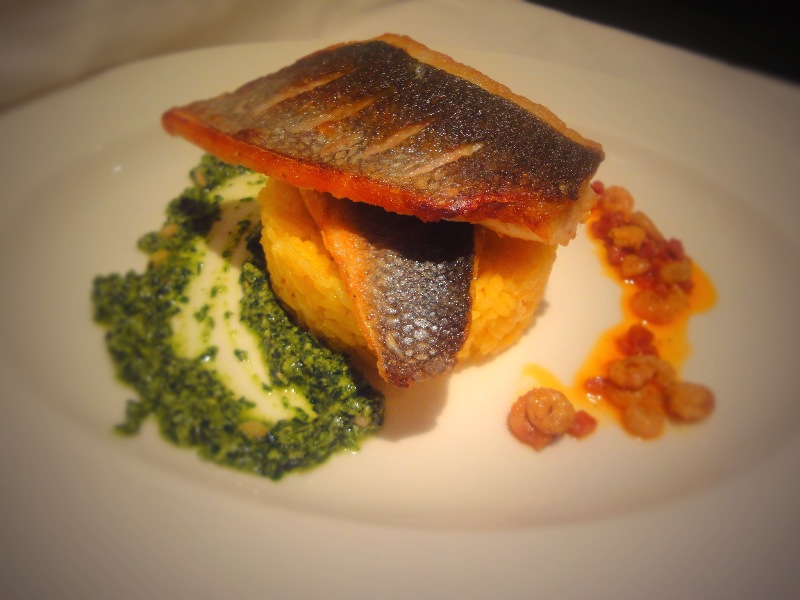 Sea Bass, Parsley Pesto, Brown Shrimp sauce on Saffron Rice.