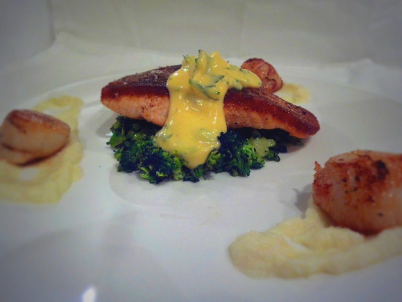 Pan Roast Salmon with a Lemon and Dill Sabayon and Broccoli Coucous
