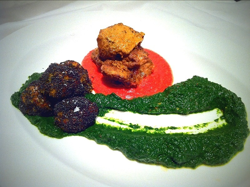 Lamb Tikka, Saag Puree and Poppy seed balls|Fine Dining at Home