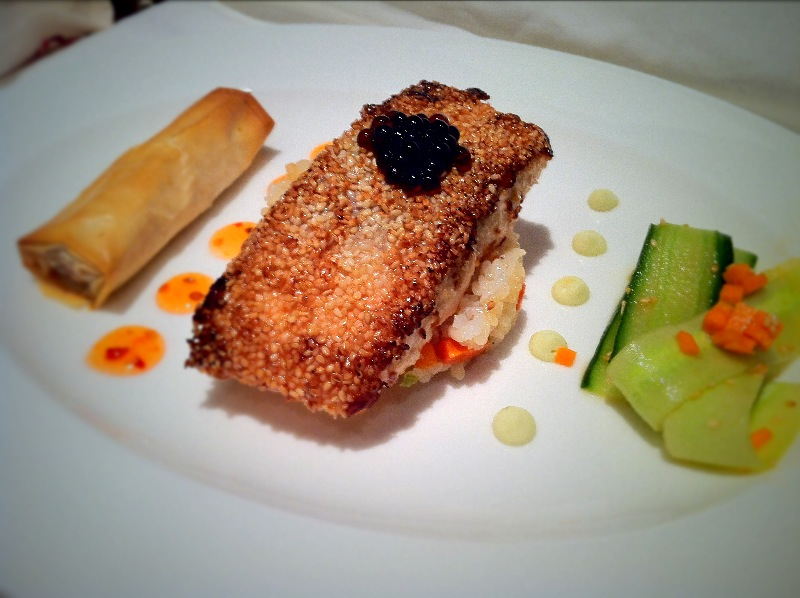 Sesame Crusted Miso Salmon with Soy Pearls.