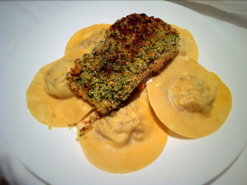 Walnut Crusted Salmon, Goats Cheese and Truffle Ravioli.|Fine Dining at Home.