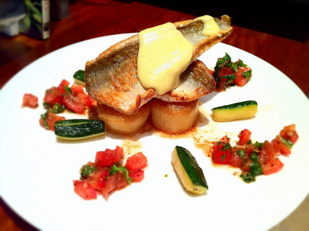Pan Fried Gurnard with a lemon sabayon and sauce vierge.