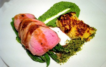 Maple and Orange Pork Tenderloin, Pea Pesto and Rosti Potato.