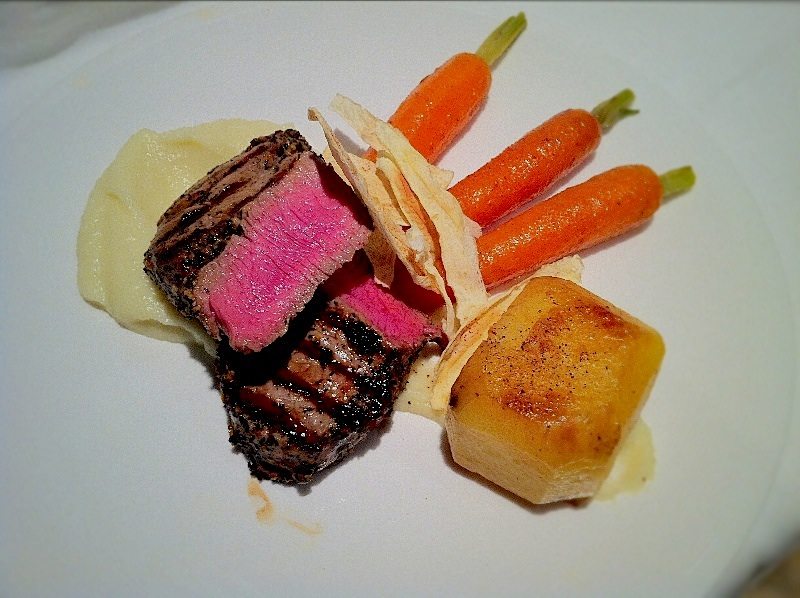 Tea and Orange Marinated Rump with Parsnip Puree.