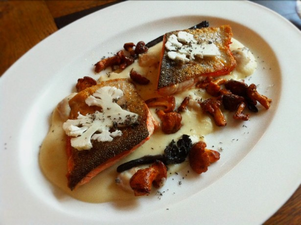 Brown Trout with cauliflower cheese puree and nori salt.