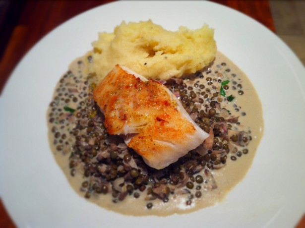 Fennel Pollen Cod and Truffled Puy lentils|Fine Dining at Home