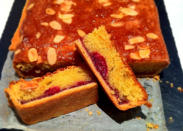 Raspberry and Almond Slices.