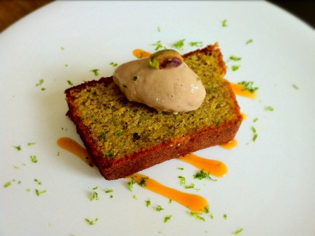 Lime and Pistachio Cake with Chai Ice Cream.