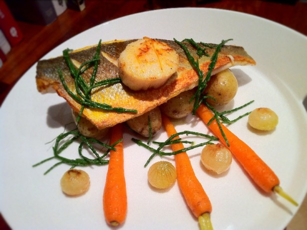 Sea Bass with Seaweed Potatoes.