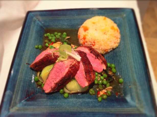 Five-Spice Duck Breast with Firecracker Rice.