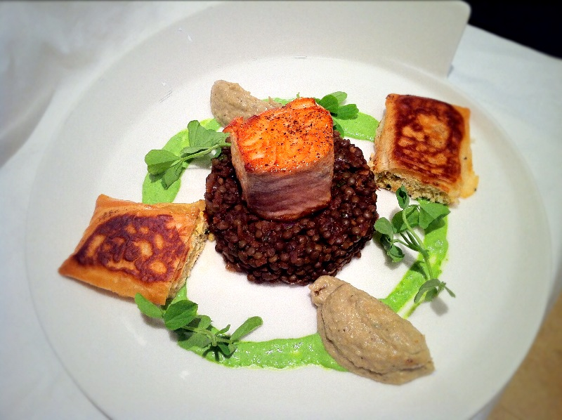 Salmon with Crab Pastillas and Spiced Puy Lentils.