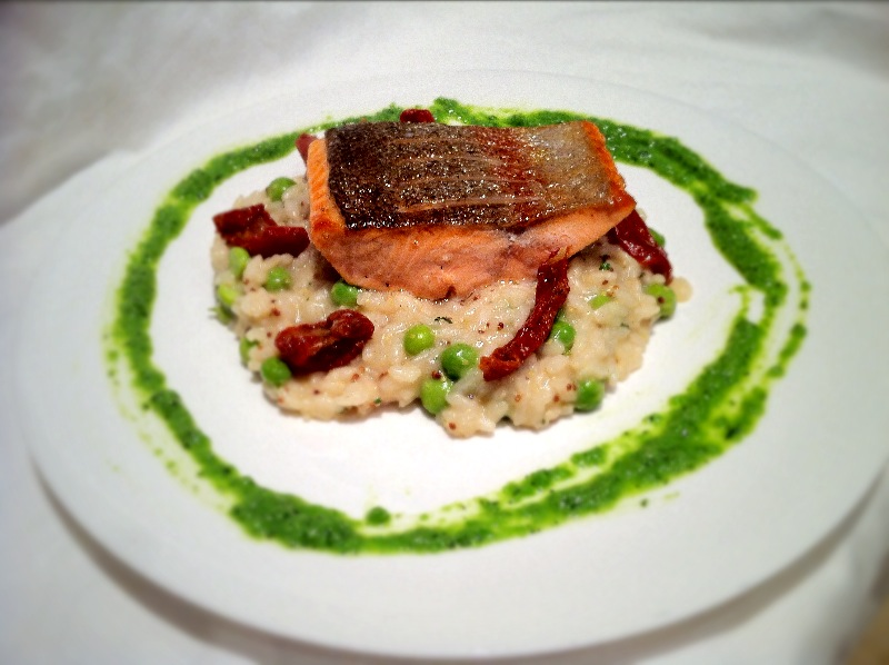 Trout, Pea and Pommery Mustard Risotto