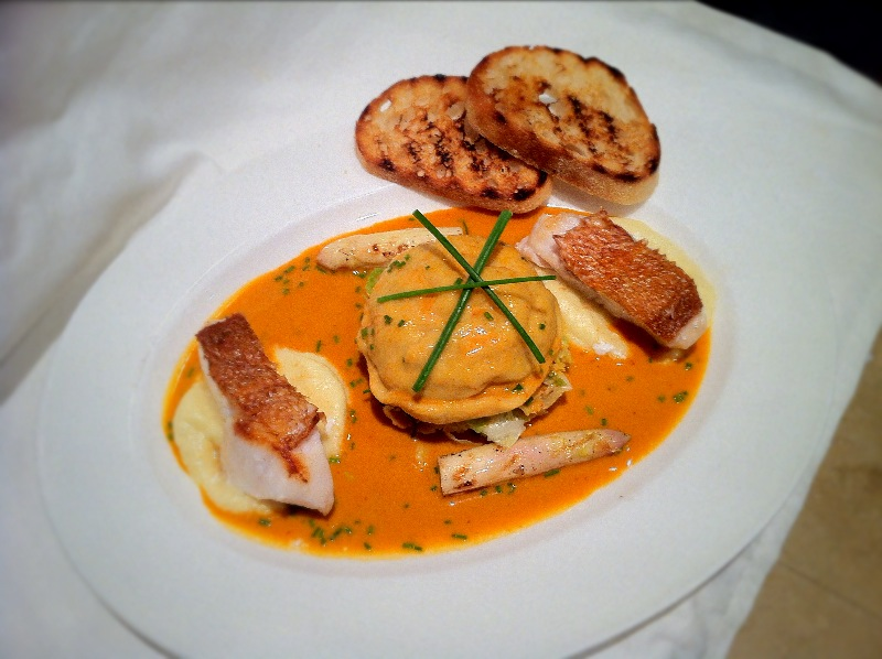 Crab Ravioli, Bisque with White Asparagus