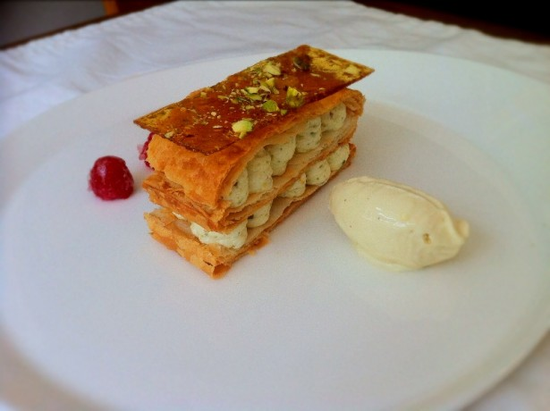 Pistachio Millefeuille and Lavender Ice Cream
