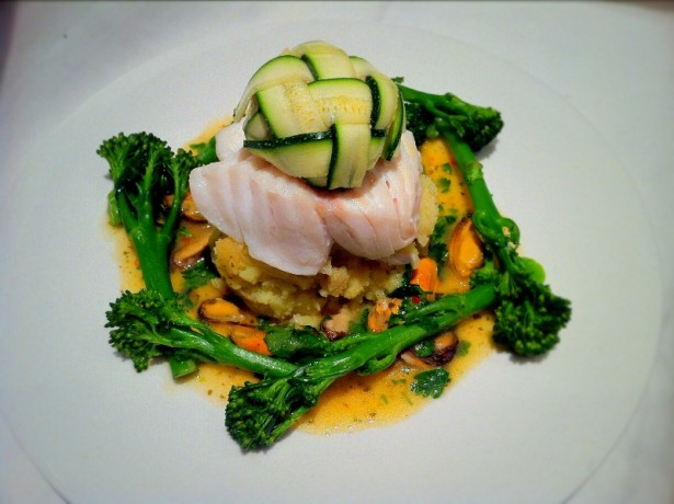 Cod, Courgette lattice and Citrus mussels.