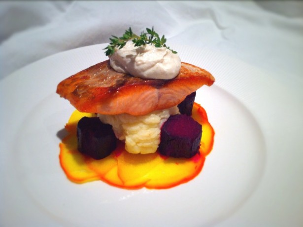 Salt baked beets, salmon and goats cheese.