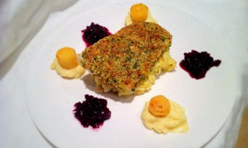 Pine nut crusted sea bass