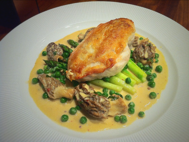Roast Chicken with a Morel and Three Peppercorn Sauce.
