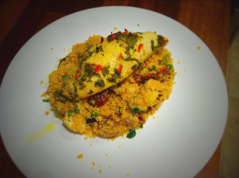 Lemon Chicken with Polenta Couscous