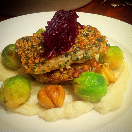 Hazelnut Crusted Salmon, Rosti, Artichoke Puree and Chestnuts. - Fine ...