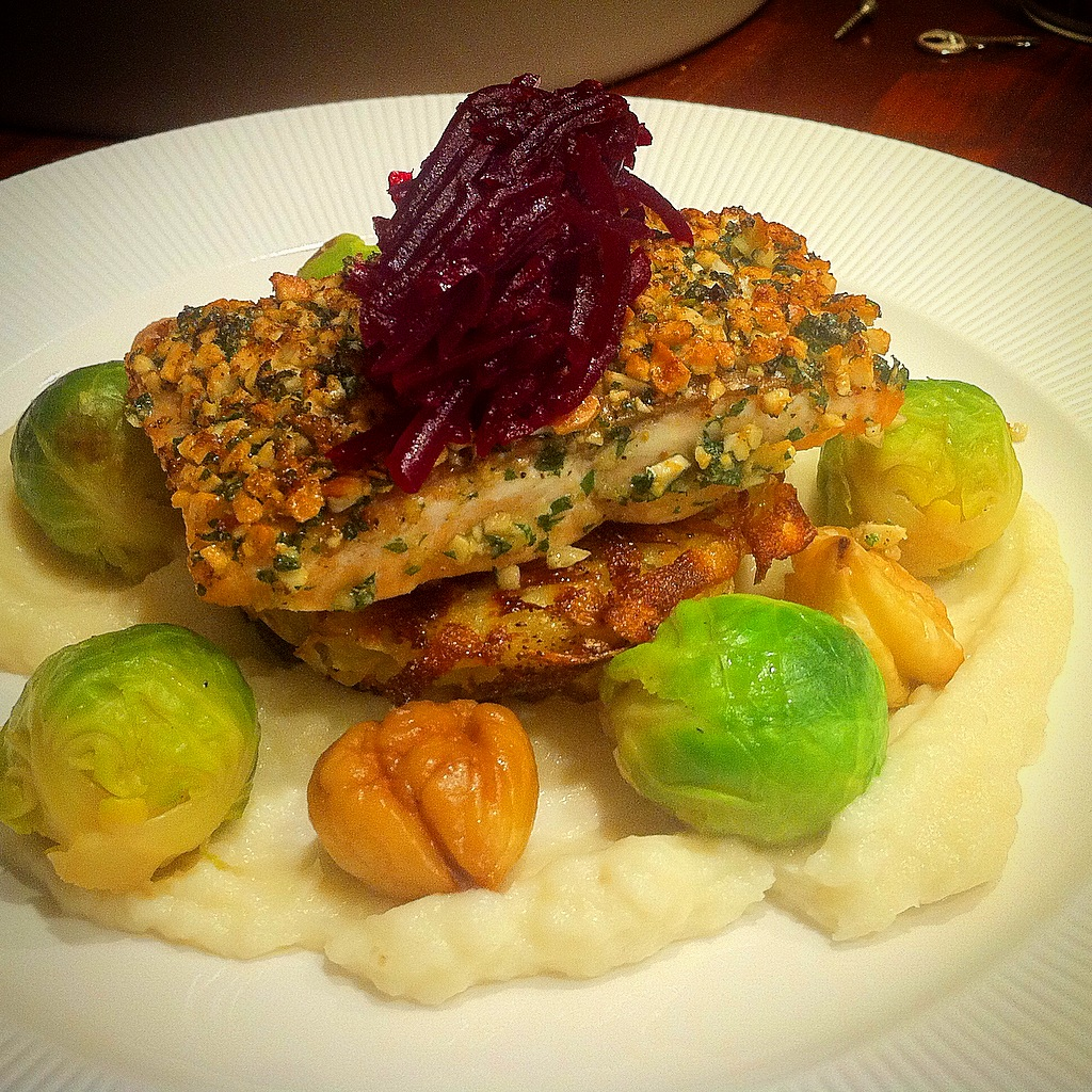 Hazelnut Crusted Salmon, Rosti, Artichoke Puree and Chestnuts.