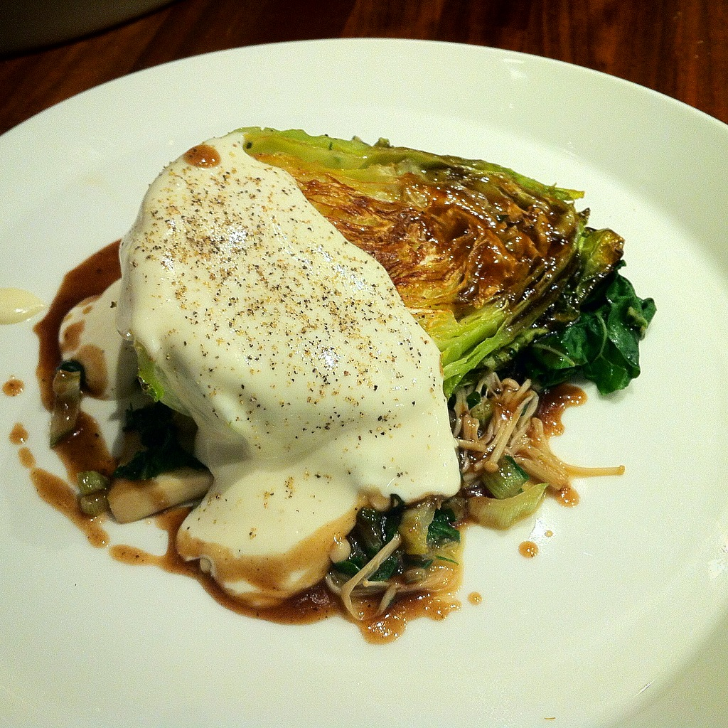 Roast Cabbage, Mushroom Teriyaki and Truffle Mayonnaise