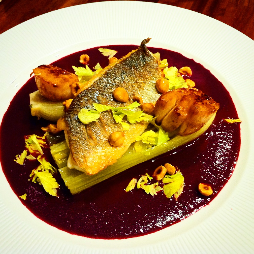 Sea Bass, Braised Celery, Black Grape Sauce