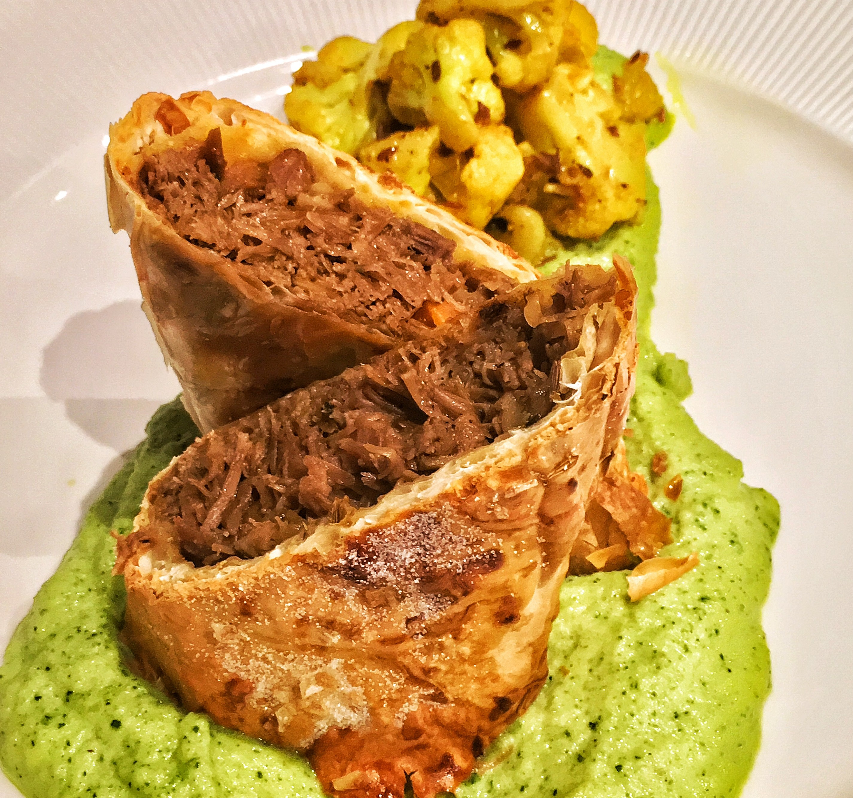 Lamb Pastilla, Courgette and Curried Cauliflower