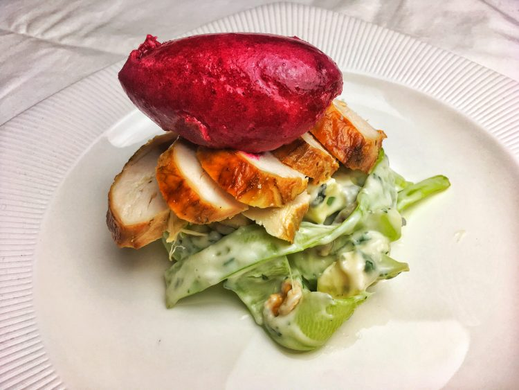 Beetroot sorbet, smoked chicken, blue cheese salad