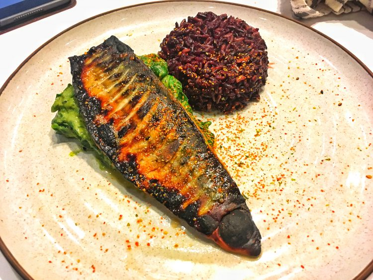 Miso Mackerel, Gomadare spinach and black rice